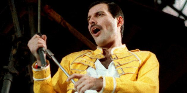 FILE - In this July 20, 1986 file photo, Queen lead singer Freddie Mercury performs, in Germany. Queen...