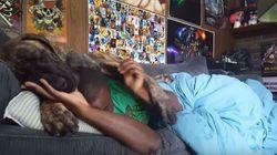 ASSISTA: Cachorro sem noção do próprio tamanho atrapalha soneca do