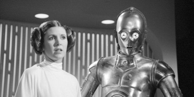 LOS ANGELES - AUGUST 23: THE STAR WARS HOLIDAY SPECIAL. Carrie Fisher (as Princes Leia) and Anthony Daniels...