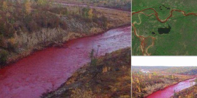 Rio na Rússia fica vermelho sangue e assusta