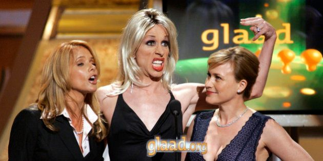 Presenters Rosanna (L), Alexis and Patricia Arquette (R) speak at the 17th annual GLAAD Media awards...