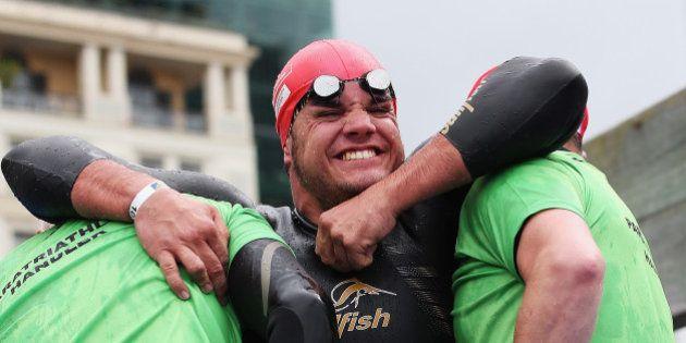 AUCKLAND, NEW ZEALAND - OCTOBER 22: Fernando Aranha of Brazil competes in the Paratriathlon Male Tri-1...