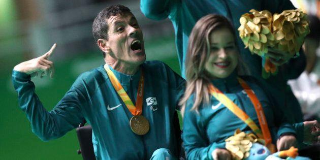 2016 Rio Paralympics - Boccia - Victory Ceremony - Mixed Pairs BC3 Victory Ceremony - Carioca Arena 2...