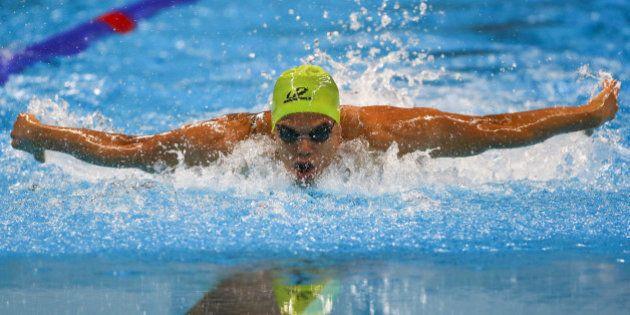 RIO DE JANEIRO, BRAZIL - SEPTEMBER 12: Andre Brasil of Brazil competes at the Mens 100m Butterfly - S10...