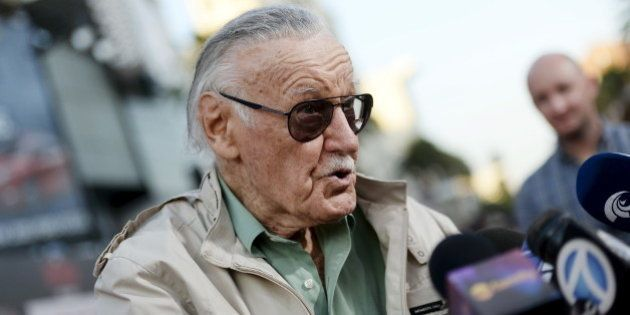 Stan Lee, 92-year-old comic book legend, speaks to reporters during premiere of