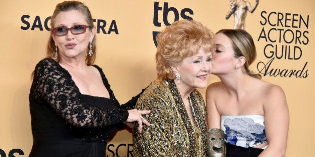 LOS ANGELES, CA - JANUARY 25: Actress Carrie Fisher, actress Debbie Reynolds and actress Billie Lourd...