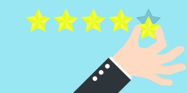 Businessman hand giving five star rating, Feedback concept, VECTOR,