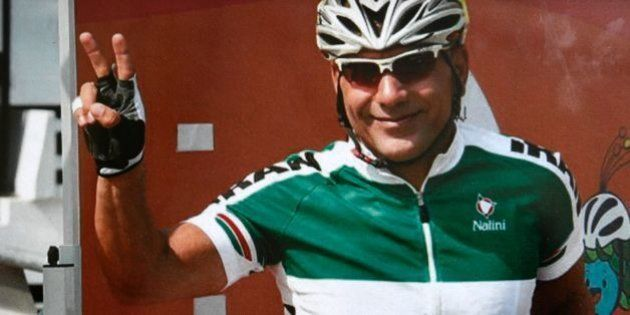 Reproduction of picture of Iranian cyclist Bahman Golbarnezhad who died on September 17 during a cycling...
