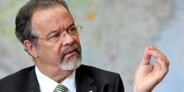 Brazilian Defense Minister Raul Jungmann speaks duing interview with AFP at the Defence Ministry in Brasilia,...