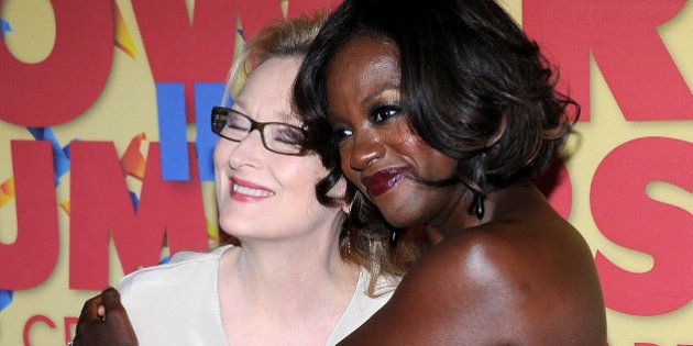 Actresses Meryl Streep (L) and Viola Davis arrive at Women in Film Presents The 2012 Crystal + Lucy Awards...