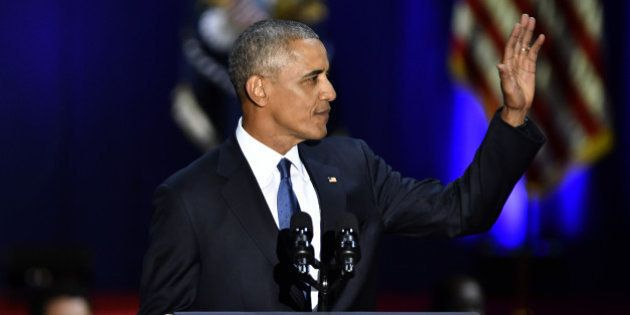 U.S. President Barack Obama waves during his farewell address in Chicago, Illinois, U.S., on Tuesday,...
