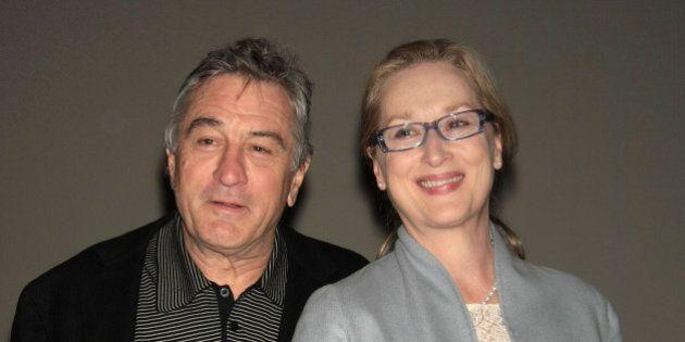 NEW YORK - NOVEMBER 03: Actors Robert De Niro (L) and Meryl Streep attend the Kageno Harambee gala at...
