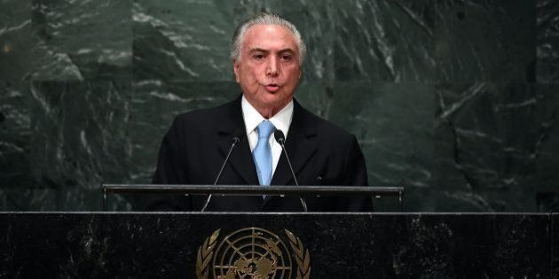 Brazil's President Michel Temer addresses the 71st session of United Nations General Assembly at the...