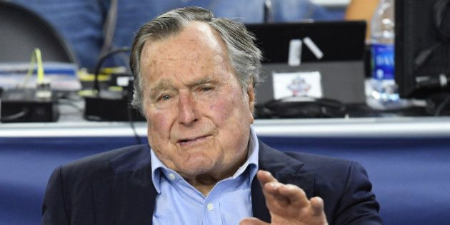 Apr 2, 2016; Houston, TX, USA; United States former President George H.W. Bush in attendance before the...