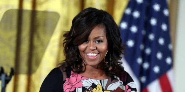 First lady Michelle Obama speaks as she welcome community leaders from across the country to celebrate...