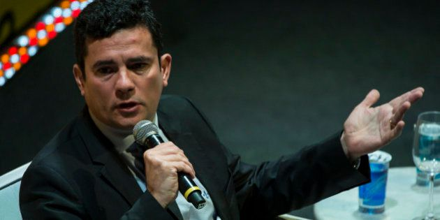Brazilian Federal judge Sergio Moro speaks during the Economic Forum in Sao Paulo, Brazil, on May 23,...