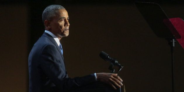 President Barack Obama delivers his farewell address at McCormick Place in Chicago, Illinois, USA on...
