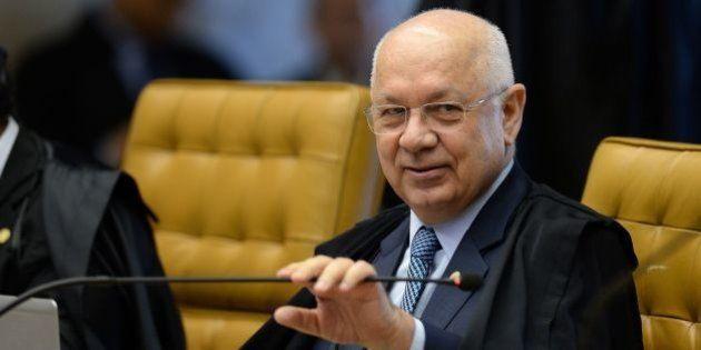 Brazil's Federal Supreme Court (STF) Minister Teori Zavascki, during a session in Brasilia on April 20,...