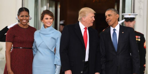 US President Barack Obama(R) and First Lady Michelle Obama(L) welcome Preisdent-elect Donald Trump(2nd-R)...