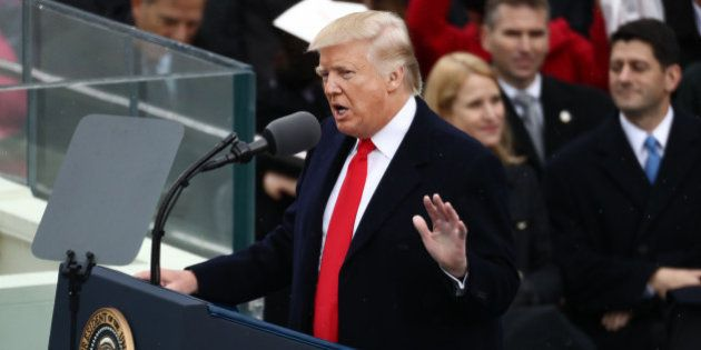U.S. President Donald Trump speaks during the 58th presidential inauguration in Washington, D.C., U.S.,...