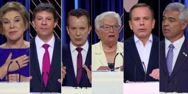 Subindo nas pesquisas e acusado de invadir terreno, Doria foi principal alvo dos candidatos no debate...
