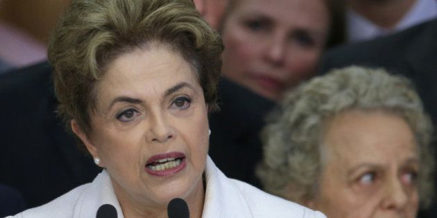 Brazil's President Dilma Rousseff addresses the nation at Planalto presidential palace in Brasilia, Brazil,...
