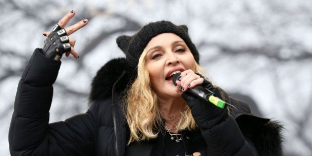 WASHINGTON, DC - JANUARY 21: Madonna performs onstage during the Women's March on Washington on January...