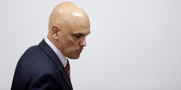 Brazil's Justice Minister Alexandre de Moraes looks on during a meeting between Brazil's interim President...