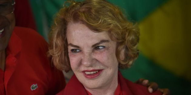 The wife of Brazilian former president Luiz Inacio Lula da Silva, Marisa Leticia, is pictured at a polling...