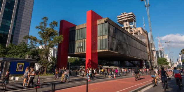 Sao Paulo, Brazil - June 26, 2016: Museum of Art of Sao Paulo (MASP) is the famous spot in Paulista Avenue...