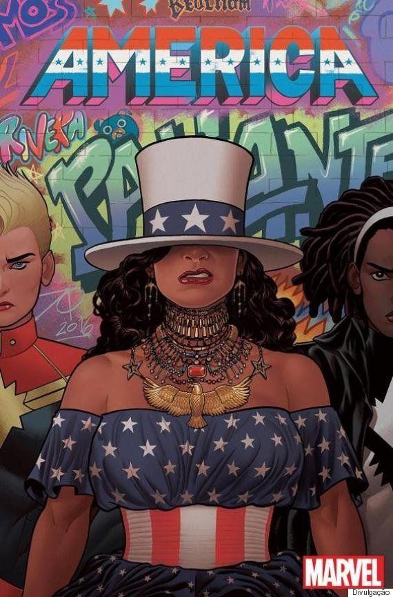 Esta capa do quadrinho 'América', da Marvel, transforma Beyoncé em uma heroína latina e