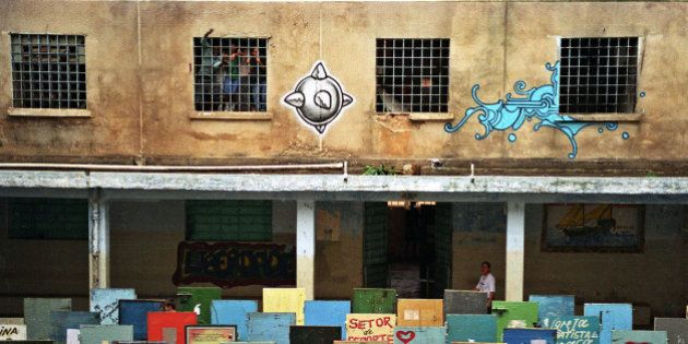 More than 100 painted cell doors are displayed at Casa de Detencao at the Carandiru prison complex, as...