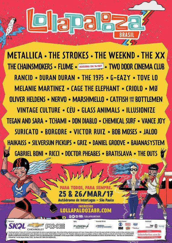 É oficial: Lollapalooza 2017 terá Metallica, Strokes, The xx, The
