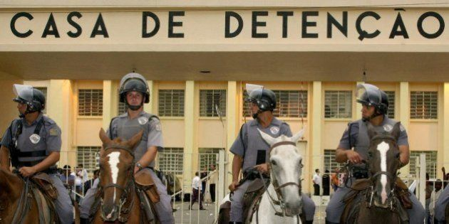 Brazilian mounted police stand guard outside Carandiru Prision in Sao Paulo, Brazil Sunday, Feb. 18,...