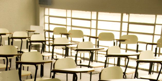Empty classroom at Unipalmares University, in Sao Paulo. (Photo by Paulo Fridman/Corbis via Getty
