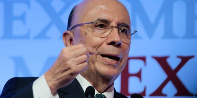 Brazilian Finance Minister Henrique Meirelles speaks during the 8th Exame Forum 2016, in Sao Paulo, Brazil...