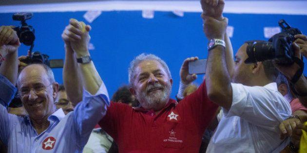 SAO PAULO, BRAZIL - MARCH 4: Former President of Brazil, Luiz Inacio Lula da Silva, attends a rally at...