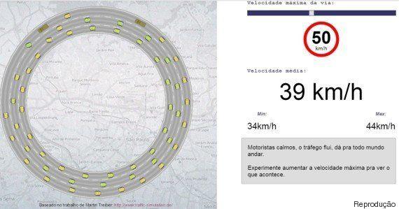 Este simulador mostra como reduzir a velocidade ajuda a diminuir o