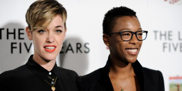 Lauren Morelli, left, and Samira Wiley arrive at the LA Premiere