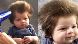 ASSISTA: Adorável bebê de 2 meses tem o cabelo de um legítimo rock