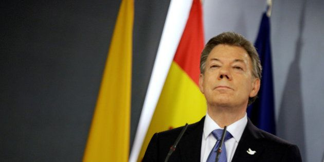 Colombia's President Juan Manuel Santos attends a joint news conference with Spain's Prime Minister Mariano...