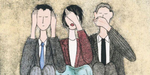 Three businesspeople censoring