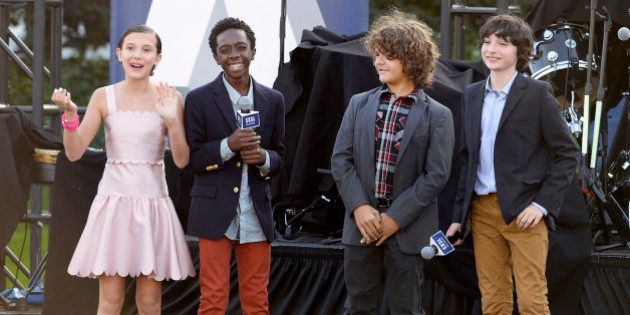 Cast members of the television series Stranger Things (L-R) Millie Bobby Brown, Caleb McLaughlin, Gaten...