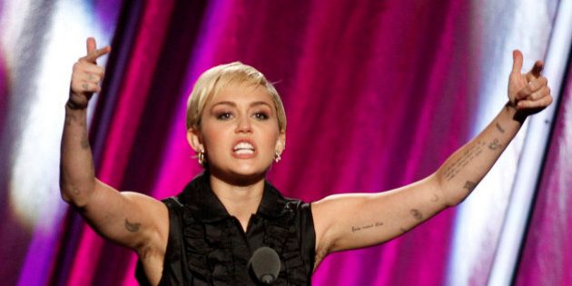 Singer Miley Cyrus inducts Joan Jett and the Blackhearts during the 2015 Rock and Roll Hall of Fame Induction...