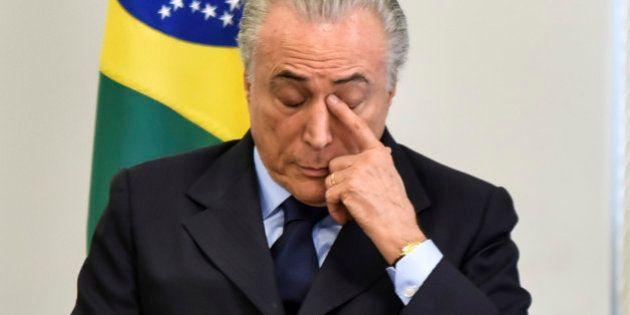 BRASILIA, BRAZIL - OCTOBER 11: President of Brazil Michel Temer attends technical cooperation agreement...