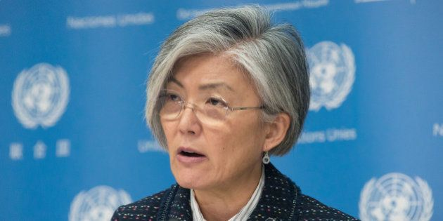 UN HEADQUARTERS, NEW YORK, NY, UNITED STATES - 2016/04/20: Kyung-wha Kang speaks to the press. Fiji's...