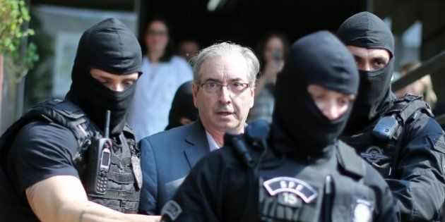 Brazil's former President of the Chamber of Deputies Eduardo Cunha, arrives at the Forensic Medicine...