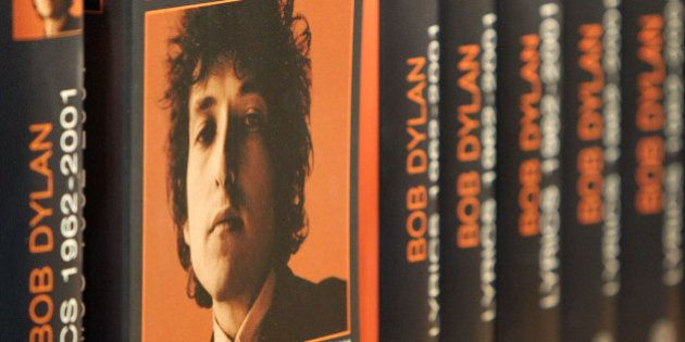 Books of the 2016 Literature Nobel Price winner US Bob Dylan are pictured at the booth of publisher Hoffman...
