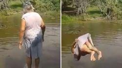 ASSISTA: Vovozinha de 89 anos dá o ~GRANDE salto mortal do