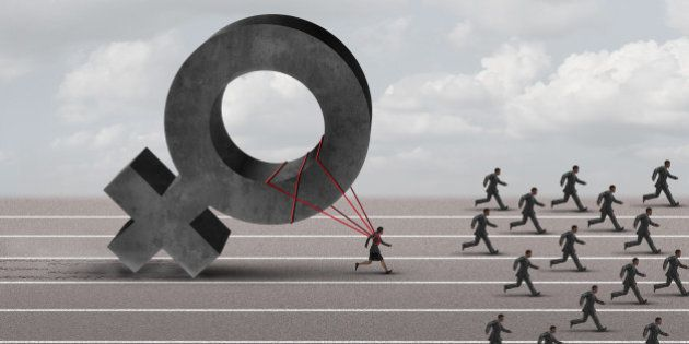 Sexism descrimination concept as a struggling woman with the burden of pulling a heavy female 3D illustration...